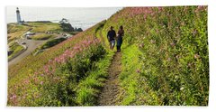 Beach Towel featuring the photograph Fireweed Seascape by Nick Boren
