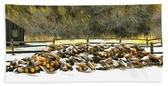 Beach Sheet featuring the photograph  Floyd Snyder by Firewood in the Snow at Fort Tejon