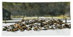 Beach Towel featuring the photograph Firewood In The Snow At Fort Tejon by Floyd Snyder