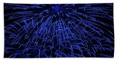 Firework Blues Beach Towel by DigiArt Diaries by Vicky B Fuller