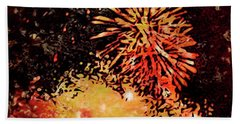 Beach Sheet featuring the painting Fireworks 4 by Joan Reese