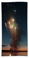 Fireworks After Sunset Beach Towel