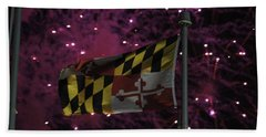 Fireworks And The Maryland Flag Beach Towel