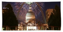 Fireworks At The Arch 1 Beach Towel by Marty Koch