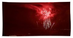 Fireworks In Red And White Beach Sheet