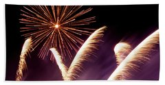 Fireworks In The Night Beach Towel