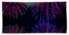 Beach Towel featuring the photograph Fireworks Over Open Water 1 by Naomi Burgess