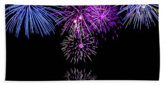 Beach Towel featuring the photograph Fireworks Over Open Water 2 by Naomi Burgess