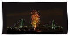 Fireworks Over The Verrazano Narrows Bridge Beach Towel