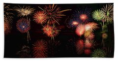 Fireworks Reflection In Water Panorama Beach Towel