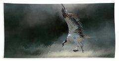 First Catch Of The Morning Osprey Art By Jai Johnson Beach Sheet by Jai Johnson