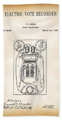 First Electric Voting Machine Patent 1869 Beach Towel