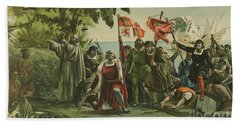 First Landing Of Columbus On The Shores Of The New World Beach Towel