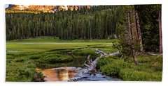 First Light On Lassen From Upper Meadow Beach Towel