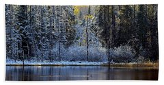 Beach Towel featuring the photograph First Snow by Doug Gibbons