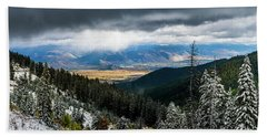 First Snow, Jackson From Teton Pass Beach Towel