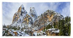 Beach Towel featuring the photograph First Snow On Liberty Bell Horizontal by Mary Jo Allen