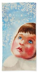 First Snowfall Beach Towel by Marilyn Jacobson