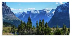 Beach Towel featuring the photograph First Winter Snow In Glacier by Yeates Photography