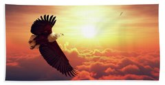 Fish Eagle Flying Above Clouds Beach Towel