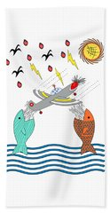 Fish Food Beach Towel by Methune Hively