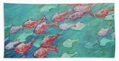 Beach Sheet featuring the painting Fish In Abundance by Xueling Zou