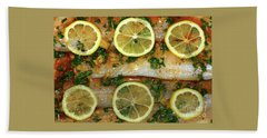 Beach Towel featuring the photograph Fish With Lemon And Coriander By Kaye Menner by Kaye Menner