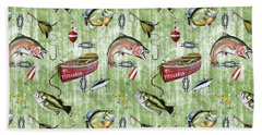 Beach Towel featuring the digital art Fisherman-a-green by Jean Plout