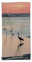 Fisherman Heron Beach Towel by Deborah Smith