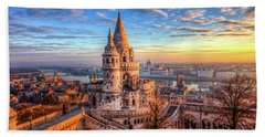 Fisherman's Bastion In Budapest Beach Sheet