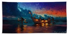 Fishermen Night Fishing Beach Towel