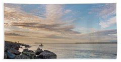 Fishing Along The South Jetty Beach Towel by Greg Nyquist