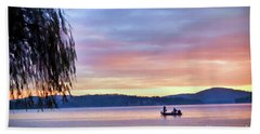 Beach Towel featuring the photograph Fishing At Sunrise - Claytor Lake State Park by Kerri Farley