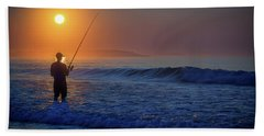Beach Sheet featuring the photograph Fishing At Sunrise by Rick Berk