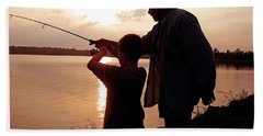 Fishing At Sunset Grandfather And Grandson Beach Towel