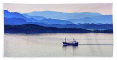 Fishing Boat At Dawn Beach Towel