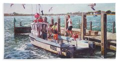 Beach Towel featuring the painting Fishing Boat At Mudeford Quay by Martin Davey