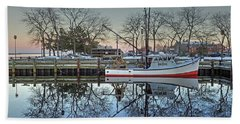 Fishing Boat At Newburyport Beach Towel