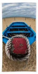 Little Blue Fishing Boat Beach Towel