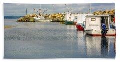 Fishing Boats At Feltzen South Beach Sheet by Ken Morris