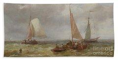Fishing Boats At Sea Beach Towel