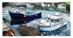 Fishing Boats In Lanes Cove Gloucester Ma Beach Towel