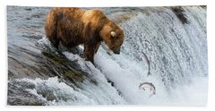 Fishing Brown Bear At Brooks Falls, Katmai National Park Beach Towel