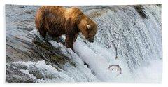 Fishing Brown Bear At Brooks Falls, Katmai National Park Beach Towel