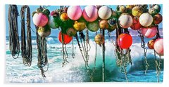 Beach Towel featuring the photograph Fishing Buoys by Terri Waters