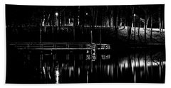 Beach Towel featuring the photograph Fishing Dock At Night 2017  by Thomas Young