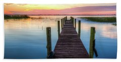 Beach Towel featuring the photograph Fishing Dock At Sunrise by Debra and Dave Vanderlaan