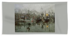 Fishing Fleet Dock Five Beach Towel