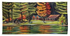 Fishing For Color At Halls Lake  Beach Towel by Nancy Griswold