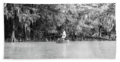 Fishing For White Perch On Big Cypress Bayou - Bw Beach Towel